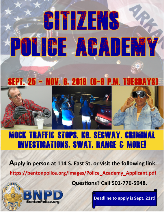 Citizens Police Academy 2018 Flyer for Website