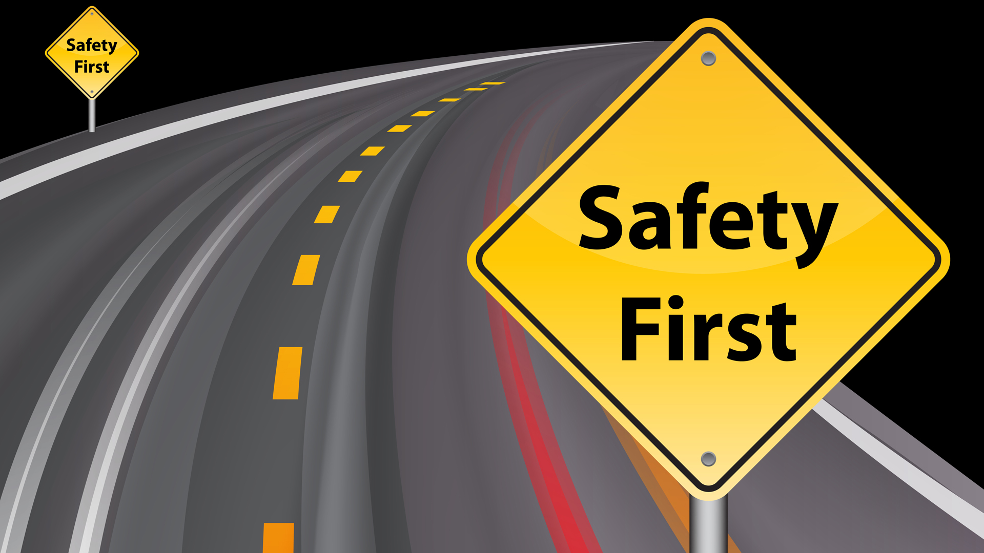ss safety first road sign